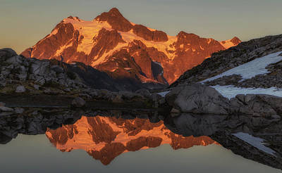 Mt Shuksan At Sunset Print by Angie Vogel