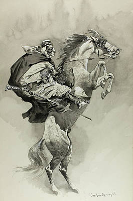 Stallion Drawing - Mubarek The Arabian Chief by Frederic Remington
