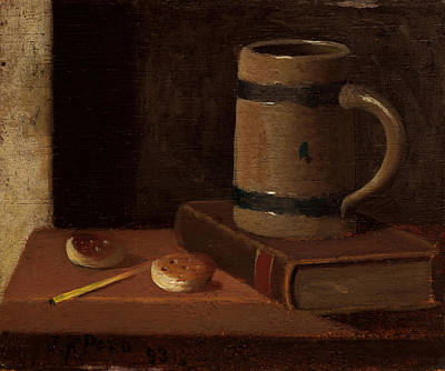 Interior Still Life Painting - Mug Book Biscuits And Match by Mountain Dreams