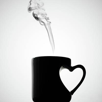 Food And Drink Photograph - Mug Of Coffee With Handle Of Heart Shape by Saulgranda