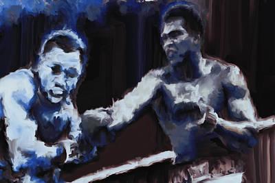 Joe Frazier Digital Art - Muhammad Ali And Joe Frazier Under The Blue Lights by Brian Reaves