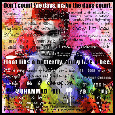 Civil Rights Painting - Muhammad Ali - Cassius Clay Motivational Inspirational Quotes 2 by Diana Van