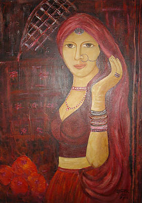 Painting - Mulher Indiana Na Porta - Indian Woman At The Door by Shanta Rathie