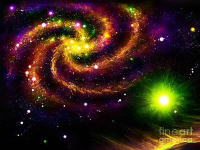 Outer Space Mixed Media - Multi Color Galaxy. Digital Space Art by Sofia Goldberg