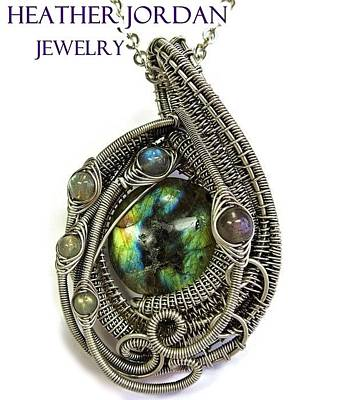 Sterling Silver Wrapped Pendant Jewelry - Multi-colored Labradorite Wire-wrapped Pendant In Antiqued Sterling Silver Labpss1 by Heather Jordan