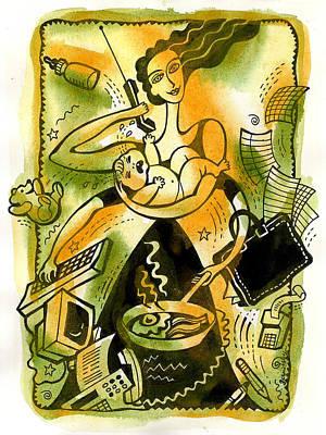 Home Office Multitasking Original by Leon Zernitsky