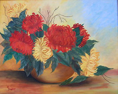 Mums Painting - Mums In Brass Bowl by Ruth  Housley
