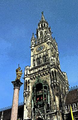 Old Town Digital Art - Munich City Hall by Paul Pobiak