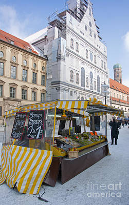 Munich Fruit Seller Print by Andrew  Michael