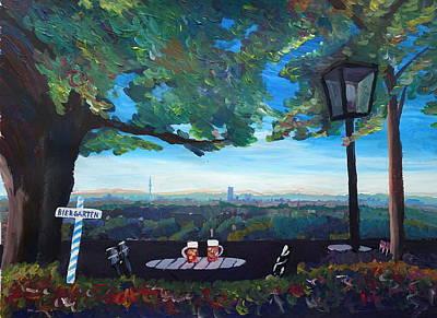 Munich Skyline View Beergarden With Alps Active Print by M Bleichner
