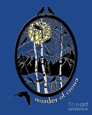 Blackbird Digital Art - Murder Of Crows by Methune Hively