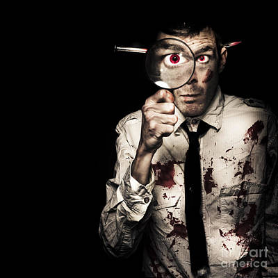 Murdered Businessman Searching For Homicide Clues Print by Jorgo Photography - Wall Art Gallery