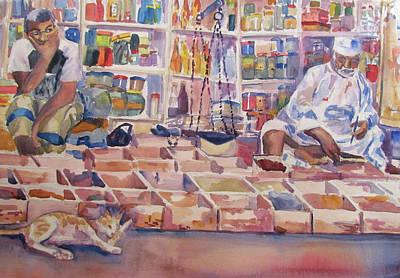 Mideast Painting - Muscat Souk Merchants by Joyce Kanyuk