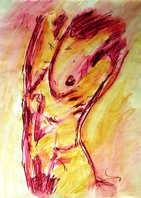 Muscled Male Nude Arched Back In A Classic Erotic Model Pose In Watercolor Purple And Yellow Sketch Original by M Zimmerman