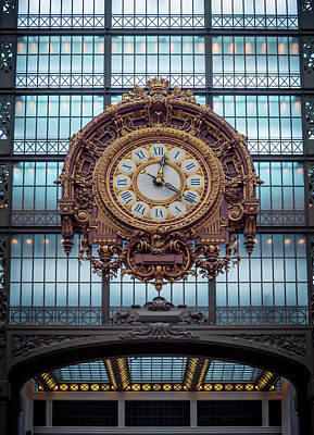 Musee D'orsay Gold Clock Print by Joan Carroll