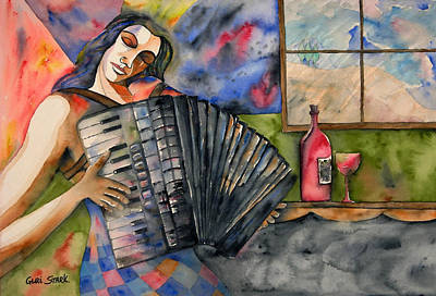 Limited Edition Painting - Music And Wine by Guri Stark