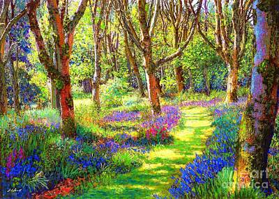 Fantasy Tree Art Painting - Music Of Light, Bluebell Woods by Jane Small