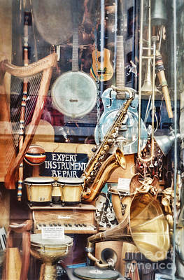 Music Store Nyc Print by HD Connelly