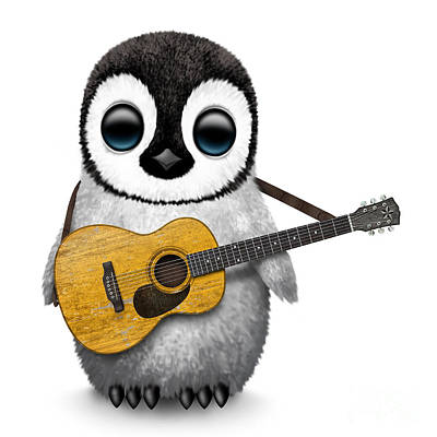 Penguin Digital Art - Musical Baby Penguin Playing The Acoustic Guitar by Jeff Bartels