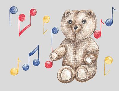 Juvenile Wall Decor Drawing - Musical Bear by Rebecca Harrick