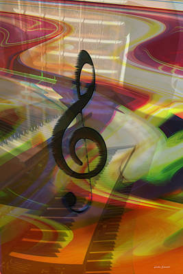 Energy Art Movement Digital Art - Musical Waves by Linda Sannuti