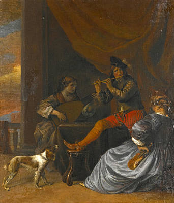 Painting - Musicians And A Dog In An Interior by Gerard Pietersz van Zijl