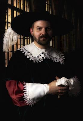 Musketeer In The Old Castle Hall Print by Jaroslaw Blaminsky