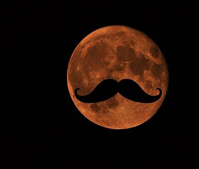 Office Space Digital Art - Mustache Moon by Marianna Mills