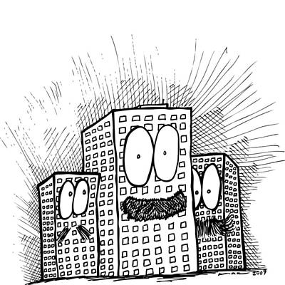 Mustachio Buildings Print by Karl Addison
