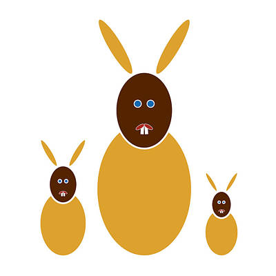 Rabbit Drawing - Mustard Bunnies by Frank Tschakert