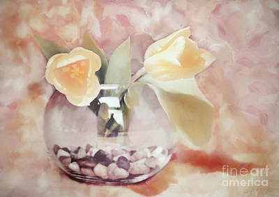 Muted Tulips Print by Kathy Franklin