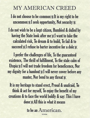 My American Creed On Parchment Print by Desiderata Gallery