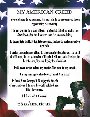 My American Creed With Stars And Stripes With An American Bald Eagle Print by Desiderata Gallery