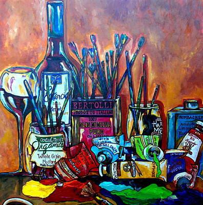 Painted Wine Glass Painting - My Art Studio by Patti Schermerhorn