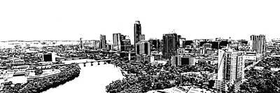 Austin Skyline Digital Art - My Austin Skyline In Stamp by James Granberry