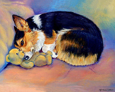 Teddy Bear Painting - My Baby Pembroke Welsh Corgi by Lyn Cook
