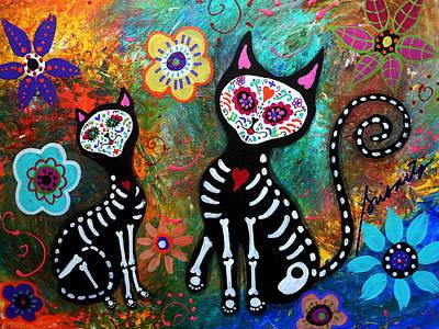 My Cats Dia De  Los Muertos Print by Pristine Cartera Turkus