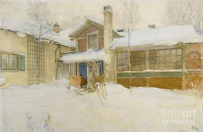 My Country Cottage In Winter Print by MotionAge Designs