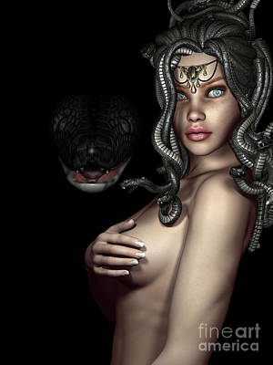 Gorgon Digital Art - My Eyes Are Up Here by Alexander Butler