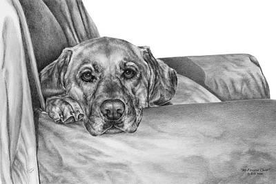 Black Labrador Drawing - My Favorite Chair by Kelli Swan