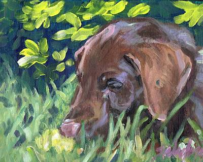 Chocolate Lab Puppy Painting - My Forever Home by Sheila Wedegis