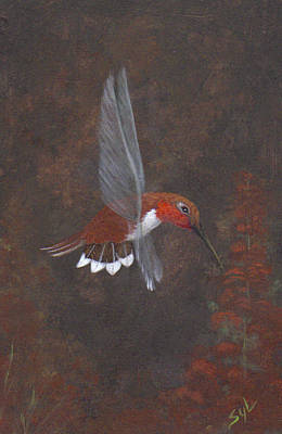 Holly Hocks Painting - My Garden Hummer by Syl Lobato