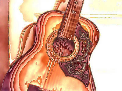 Acoustic Guitar Digital Art - My Guitar Takes Five by Wendy J St Christopher