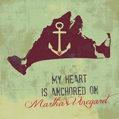 My Heart Is Anchored On Martha's Vineyard Green Print by Brandi Fitzgerald