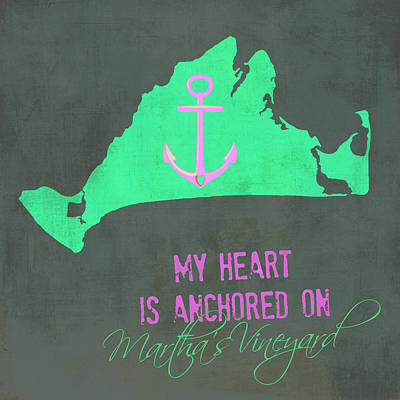 My Heart Is Anchored On Martha's Vineyard Pink And Green Print by Brandi Fitzgerald