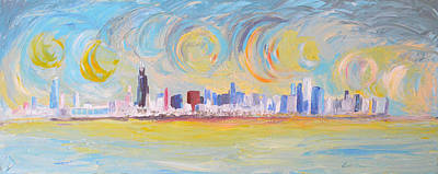 Hancock Building Painting - My Kind Of Town by Lee Bauman