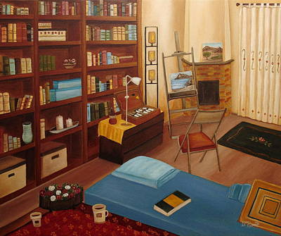 Interior Scene Painting - My Old Study by Angeles M Pomata