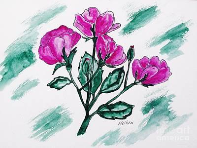 Rosebud Painting - My Pretty Roses by Marsha Heiken