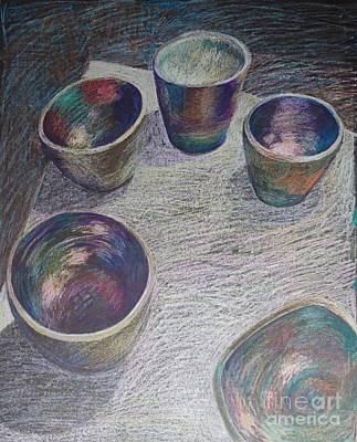 My Raku Bowls - Original Drawing Original by Elizabetha Fox
