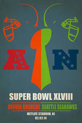 My Super Bowl Broncos Seahawks Print by Joe Hamilton